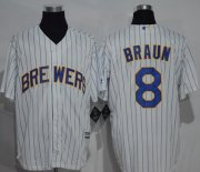 Wholesale Cheap Brewers #8 Ryan Braun White (blue strip) New Cool Base Stitched MLB Jersey