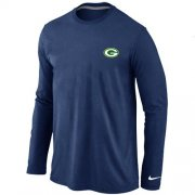 Wholesale Cheap Nike Green Bay Packers Sideline Legend Authentic Logo Long Sleeve T-Shirt Dark Blue