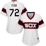 Wholesale Cheap White Sox #72 Carlton Fisk White Alternate Home Women's Stitched MLB Jersey