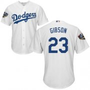 Wholesale Cheap Dodgers #23 Kirk Gibson White Cool Base 2018 World Series Stitched Youth MLB Jersey