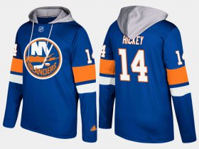 Wholesale Cheap Islanders #14 Thomas Hickey Blue Name And Number Hoodie
