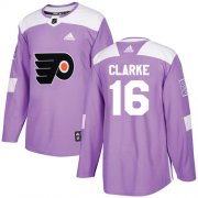 Wholesale Cheap Adidas Flyers #16 Bobby Clarke Purple Authentic Fights Cancer Stitched Youth NHL Jersey