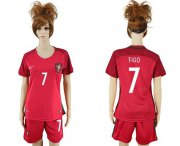 Wholesale Cheap Women's Portugal #7 Figo Home Soccer Country Jersey