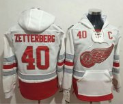 Wholesale Cheap Red Wings #40 Henrik Zetterberg White Name & Number Pullover NHL Hoodie