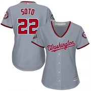 Wholesale Cheap Nationals #22 Juan Soto Grey Road 2019 World Series Champions Women's Stitched MLB Jersey