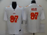 Wholesale Cheap Men's Kansas City Chiefs #87 Travis Kelce White 2020 Shadow Logo Vapor Untouchable Stitched NFL Nike Limited Jersey
