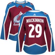 Wholesale Cheap Adidas Avalanche #29 Nathan MacKinnon Burgundy Home Authentic Women's Stitched NHL Jersey