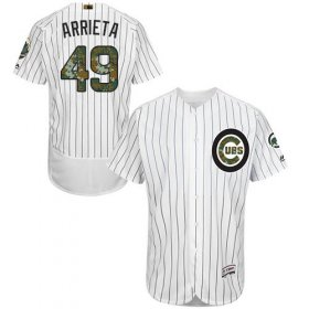Wholesale Cheap Cubs #49 Jake Arrieta White(Blue Strip) Flexbase Authentic Collection Memorial Day Stitched MLB Jersey