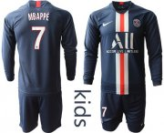 Wholesale Cheap Paris Saint-Germain #7 Mbappe Home Long Sleeves Kid Soccer Club Jersey