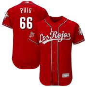 Wholesale Cheap Cincinnati Reds #66 Yasiel Puig Majestic Alternate Authentic Collection Flex Base Player Jersey Scarlet