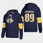Wholesale Cheap Nashville Predators #89 Frederick Gaudreau Navy adidas Lace-Up Pullover Hoodie