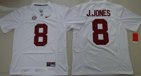Wholesale Cheap Men\'s Alabama Crimson Tide #8 Julio Jones White Limited Stitched College Football Nike NCAA Jersey