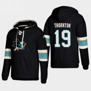 Wholesale Cheap San Jose Sharks #19 Joe Thornton Black adidas Lace-Up Pullover Hoodie