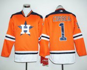 Wholesale Cheap Astros #1 Carlos Correa Orange Long Sleeve Stitched MLB Jersey