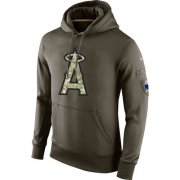 Wholesale Cheap Men's Los Angeles Angels Nike Olive Salute To Service KO Performance Hoodie