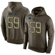 Wholesale Cheap NFL Men's Nike Carolina Panthers #59 Luke Kuechly Stitched Green Olive Salute To Service KO Performance Hoodie