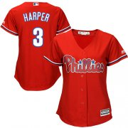 Wholesale Cheap Phillies #3 Bryce Harper Red Alternate Women's Stitched MLB Jersey
