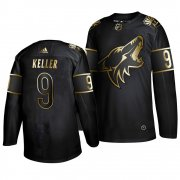 Wholesale Cheap Adidas Coyotes #9 Clayton Keller Men's 2019 Black Golden Edition Authentic Stitched NHL Jersey