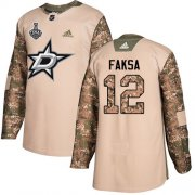 Wholesale Cheap Adidas Stars #12 Radek Faksa Camo Authentic 2017 Veterans Day 2020 Stanley Cup Final Stitched NHL Jersey
