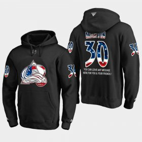 Wholesale Cheap Avalanche #30 Spencer Martin NHL Banner Wave Usa Flag Black Hoodie