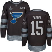 Wholesale Cheap Adidas Blues #15 Robby Fabbri Black 1917-2017 100th Anniversary Stanley Cup Champions Stitched NHL Jersey