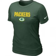 Wholesale Cheap Women's Nike Green Bay Packers Authentic Logo T-Shirt Green