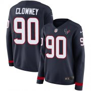 Wholesale Cheap Nike Texans #90 Jadeveon Clowney Navy Blue Team Color Women's Stitched NFL Limited Therma Long Sleeve Jersey