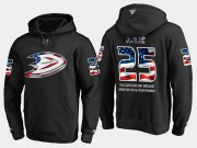 Wholesale Cheap Ducks #25 Ondrej Kase NHL Banner Wave Usa Flag Black Hoodie