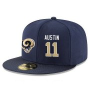 Wholesale Cheap Los Angeles Rams #11 Tavon Austin Snapback Cap NFL Player Navy Blue with Gold Number Stitched Hat