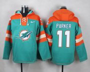 Wholesale Cheap Nike Dolphins #11 DeVante Parker Aqua Green Player Pullover NFL Hoodie
