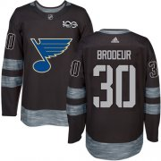 Wholesale Cheap Adidas Blues #30 Martin Brodeur Black 1917-2017 100th Anniversary Stitched NHL Jersey