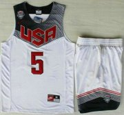 Wholesale Cheap 2014 USA Dream Team #5 Kevin Durant White Basketball Jersey Suits