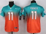 Wholesale Cheap Nike Dolphins #11 DeVante Parker Aqua Green/Orange Youth Stitched NFL Elite Fadeaway Fashion Jersey