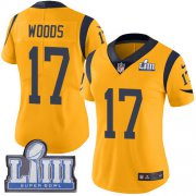 Wholesale Cheap Nike Rams #17 Robert Woods Gold Super Bowl LIII Bound Women's Stitched NFL Limited Rush Jersey
