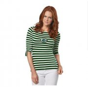 Wholesale Cheap Green Bay Packers Lady Striped Boatneck Three-Quarter Sleeve T-Shirt
