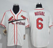 Wholesale Cheap Mitchell And Ness Cardinals #6 Stan Musial White Throwback Stitched MLB Jersey