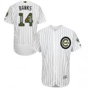 Wholesale Cheap Cubs #14 Ernie Banks White(Blue Strip) Flexbase Authentic Collection Memorial Day Stitched MLB Jersey