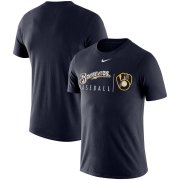 Wholesale Cheap Milwaukee Brewers Nike MLB Team Logo Practice T-Shirt Navy