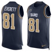 Wholesale Cheap Nike Rams #81 Gerald Everett Navy Blue Team Color Men's Stitched NFL Limited Tank Top Jersey