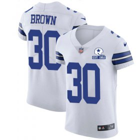 Wholesale Cheap Nike Cowboys #30 Anthony Brown White Men\'s Stitched With Established In 1960 Patch NFL New Elite Jersey
