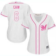 Wholesale Cheap Brewers #6 Lorenzo Cain White/Pink Fashion Women's Stitched MLB Jersey