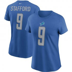 Wholesale Cheap Detroit Lions #9 Matthew Stafford Nike Women\'s Team Player Name & Number T-Shirt Blue