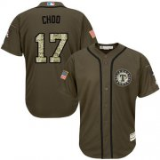 Wholesale Cheap Rangers #17 Shin-Soo Choo Green Salute to Service Stitched Youth MLB Jersey