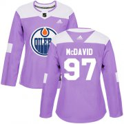 Wholesale Cheap Adidas Oilers #97 Connor McDavid Purple Authentic Fights Cancer Women's Stitched NHL Jersey