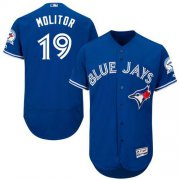 Wholesale Cheap Blue Jays #19 Paul Molitor Blue Flexbase Authentic Collection Stitched MLB Jersey