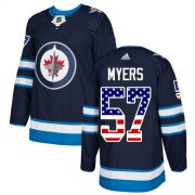 Wholesale Cheap Adidas Jets #57 Tyler Myers Navy Blue Home Authentic USA Flag Stitched Youth NHL Jersey