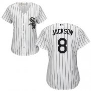 Wholesale Cheap White Sox #8 Bo Jackson White(Black Strip) Home Women's Stitched MLB Jersey