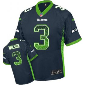 Wholesale Cheap Nike Seahawks #3 Russell Wilson Steel Blue Team Color Youth Stitched NFL Elite Drift Fashion Jersey