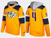 Wholesale Cheap Predators #4 Ryan Ellis Yellow Name And Number Hoodie