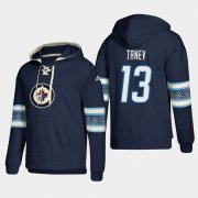 Wholesale Cheap Winnipeg Jets #13 Brandon Tanev Blue adidas Lace-Up Pullover Hoodie